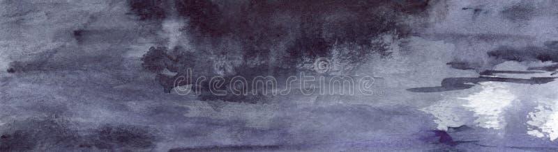 Fondo bagnato di struttura dell'asfalto della pioggia grigia grigia del nero di blu navy dell'acquerello illustrazione di stock