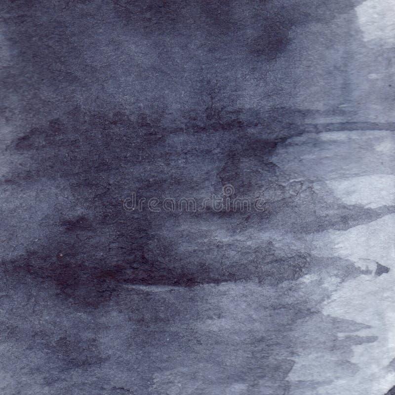 Fondo bagnato di struttura dell'asfalto della pioggia grigia grigia del nero di blu navy dell'acquerello illustrazione vettoriale