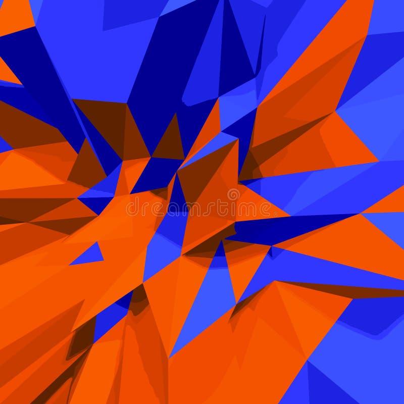 Fondo bajo abstracto del polígono 3d Azul y naranja stock de ilustración