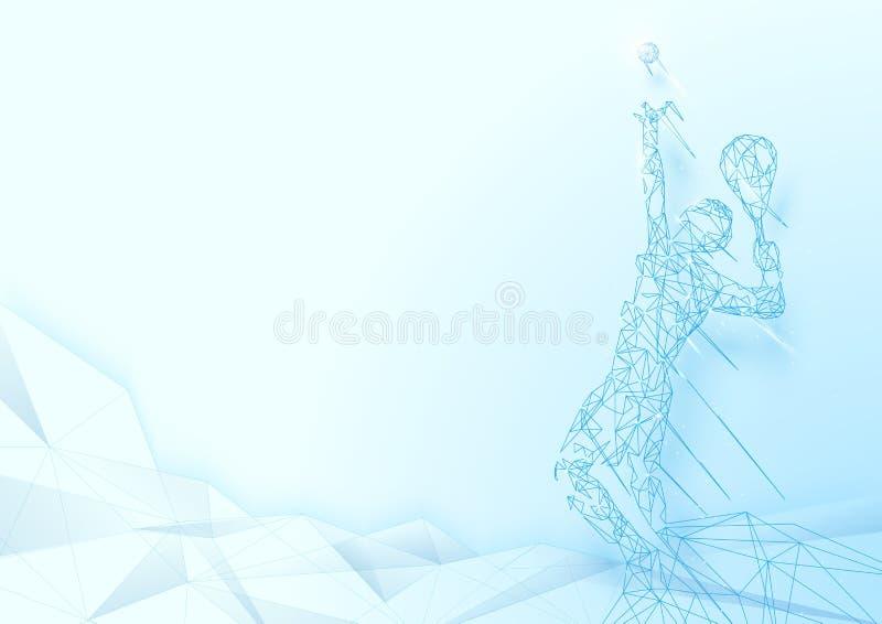 Fondo bajo de la malla del wireframe del jugador de tenis de la porción del polígono stock de ilustración