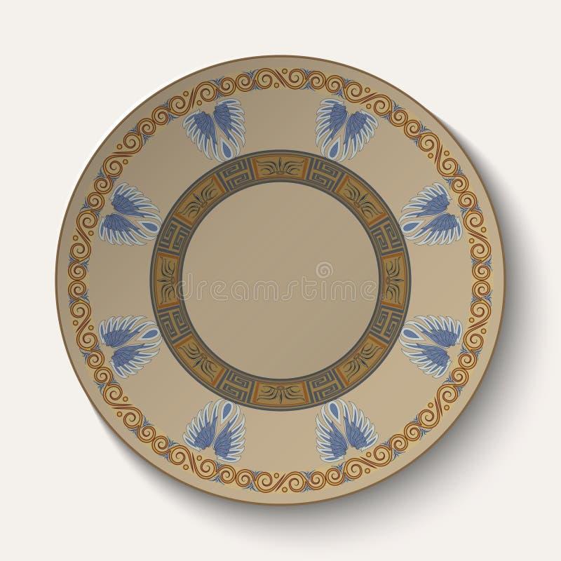 Fondo bajo la forma de placa con un ornamento en el estilo del griego clásico libre illustration