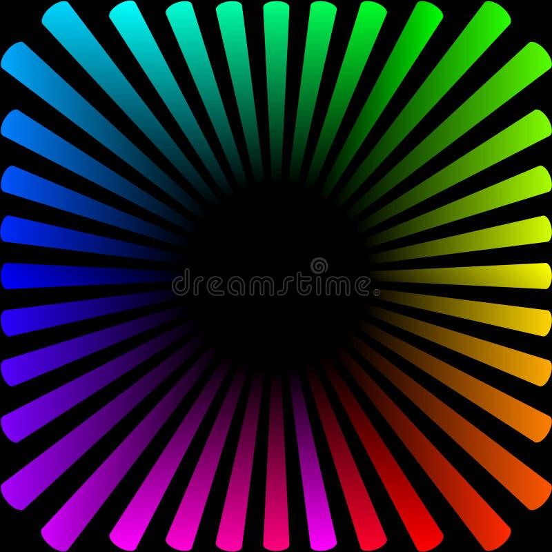 Fondo bajo la forma de sol coloreado con los rayos stock de ilustración