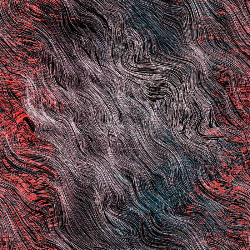Fondo barrato ed ondulato di lerciume astratto nei colori neri, bianchi, rossi, blu illustrazione di stock