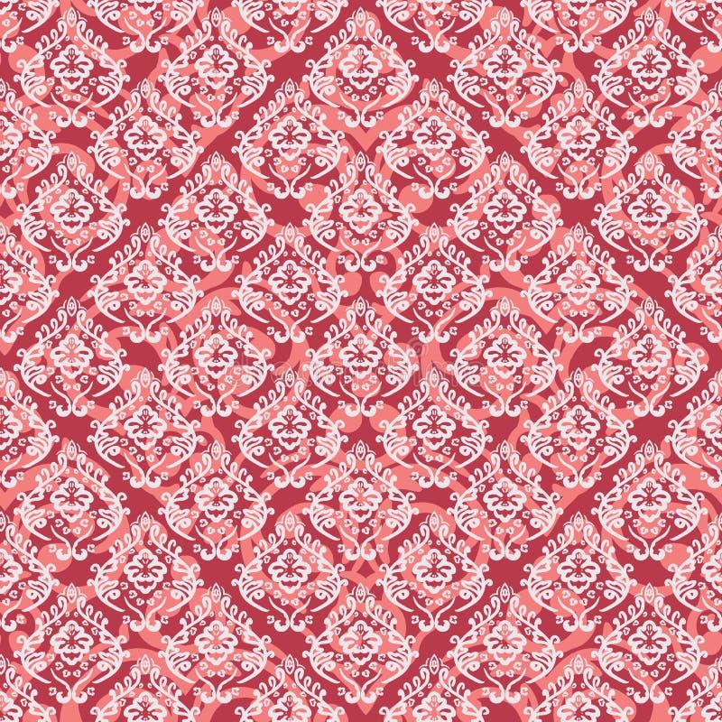 Fondo barroco inconsútil del rojo del damasco stock de ilustración