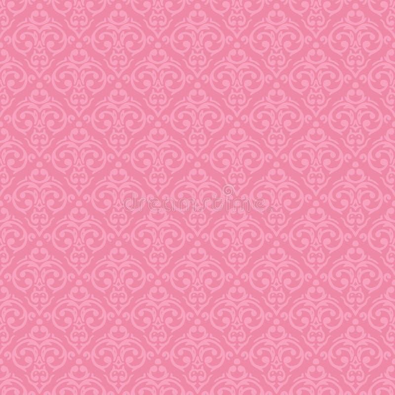 Fondo barroco inconsútil del rosa del damasco stock de ilustración