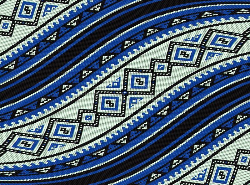 Fondo beduino tradicional azul ondulado del modelo de la manta de Sadu stock de ilustración