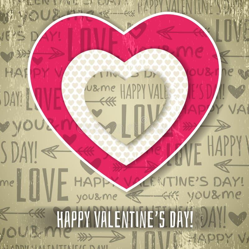 Fondo beige con el corazón de la tarjeta del día de San Valentín y WIS rojos stock de ilustración