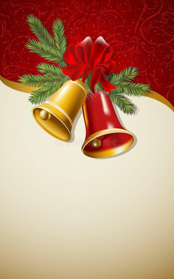 Fondo beige con le campane di Natale Vettore illustrazione di stock