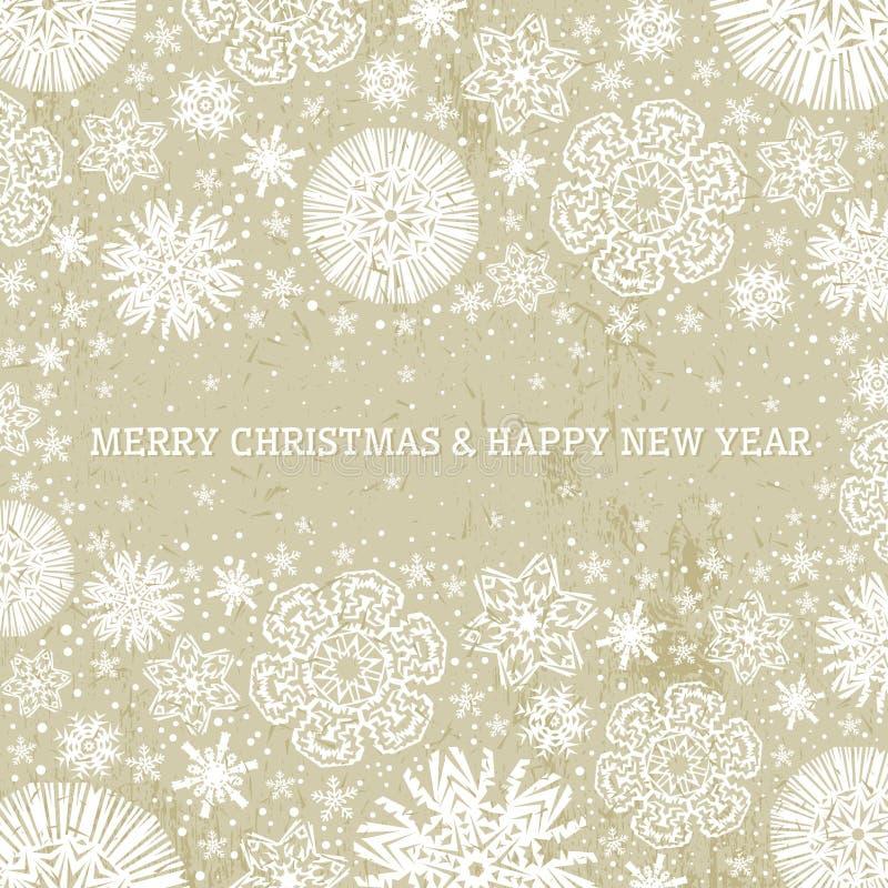Fondo beige con los copos de nieve, vecto de la Navidad stock de ilustración
