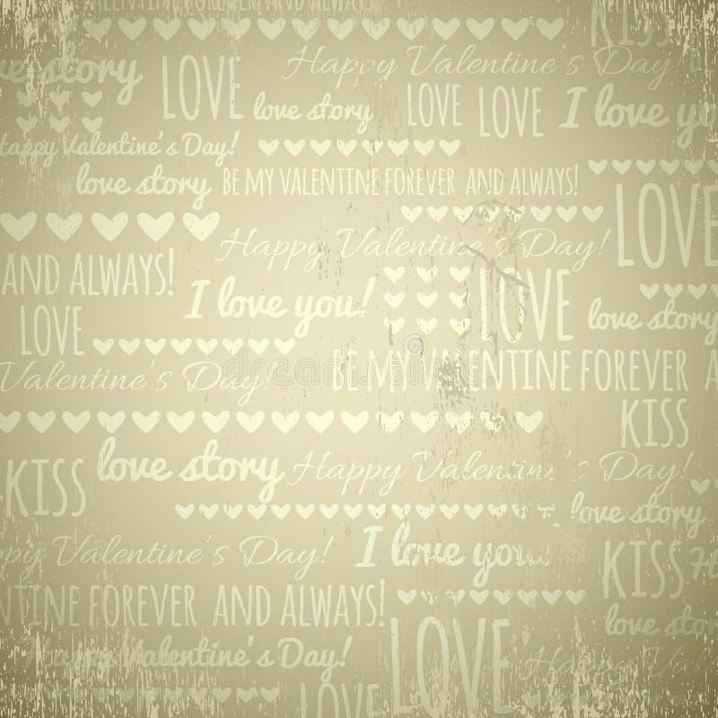 Fondo beige con los corazones y el texto, vector de la tarjeta del día de San Valentín stock de ilustración