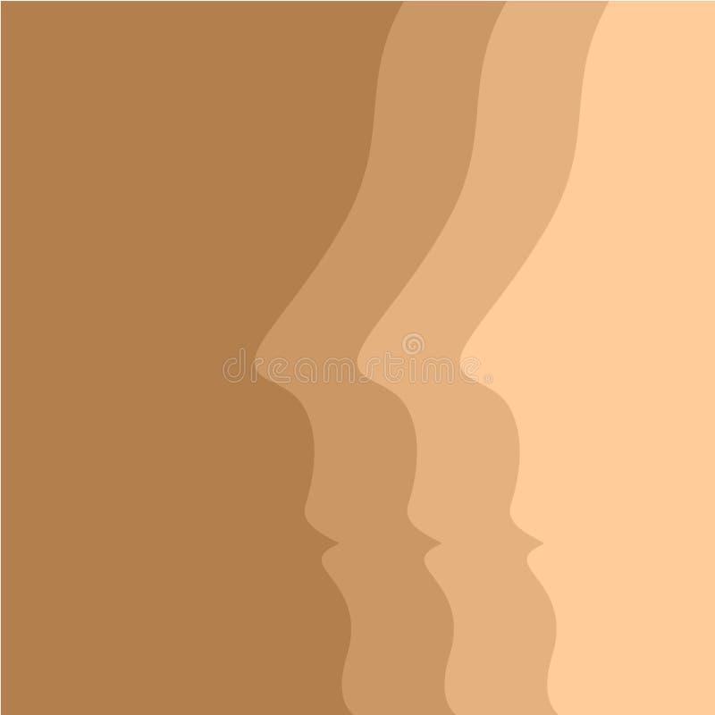 Fondo beige di vettore con i profili del viso umano illustrazione di stock
