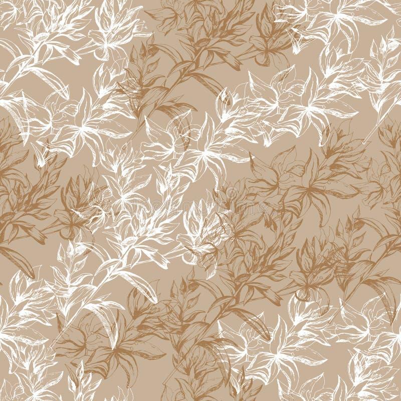 Fondo beige ligero de las flores blancas del contorno Textura para la decoraci?n de telas, tejas y documento y papel pintado sobr ilustración del vector