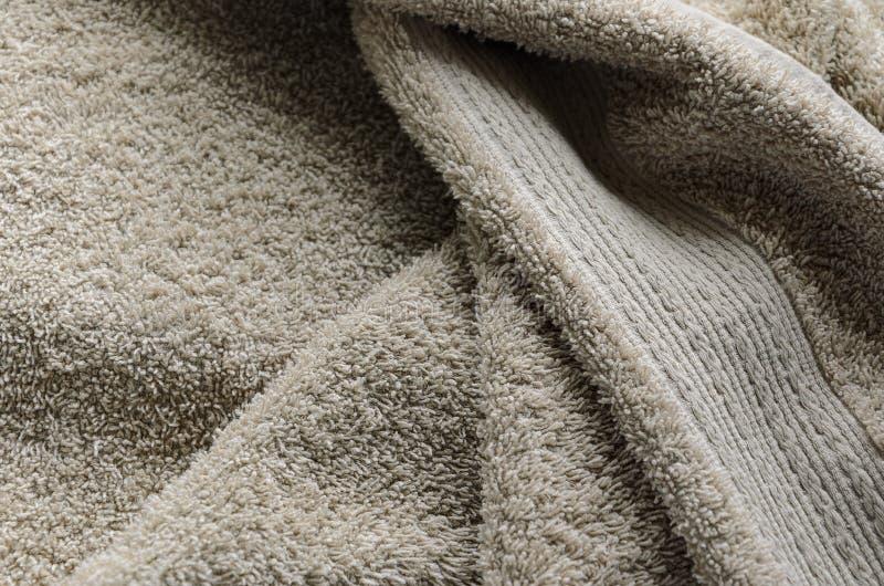 Fondo beige rizado de la toalla foto de archivo