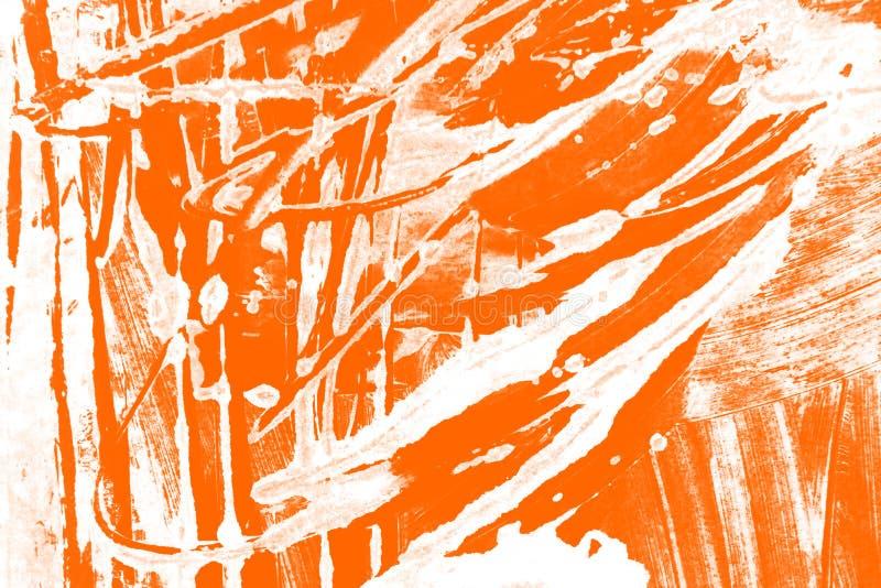 Fondo bianco arancio dei colpi del pennello fotografia stock libera da diritti