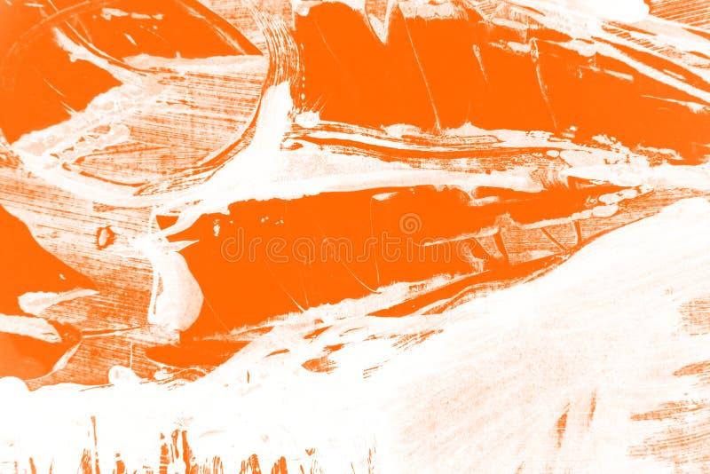 Fondo bianco arancio dei colpi del pennello immagine stock libera da diritti