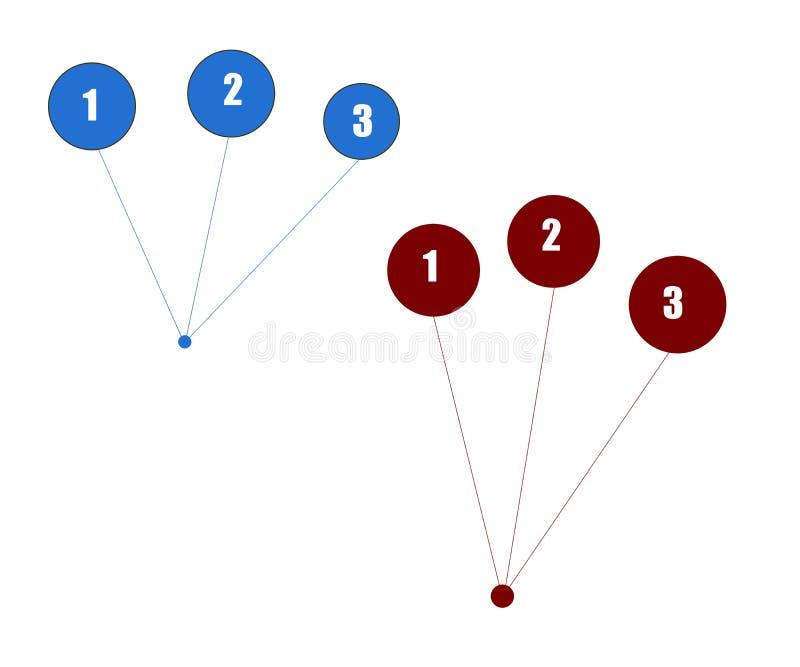 Fondo bianco astratto con i cerchi numerati illustrazione vettoriale