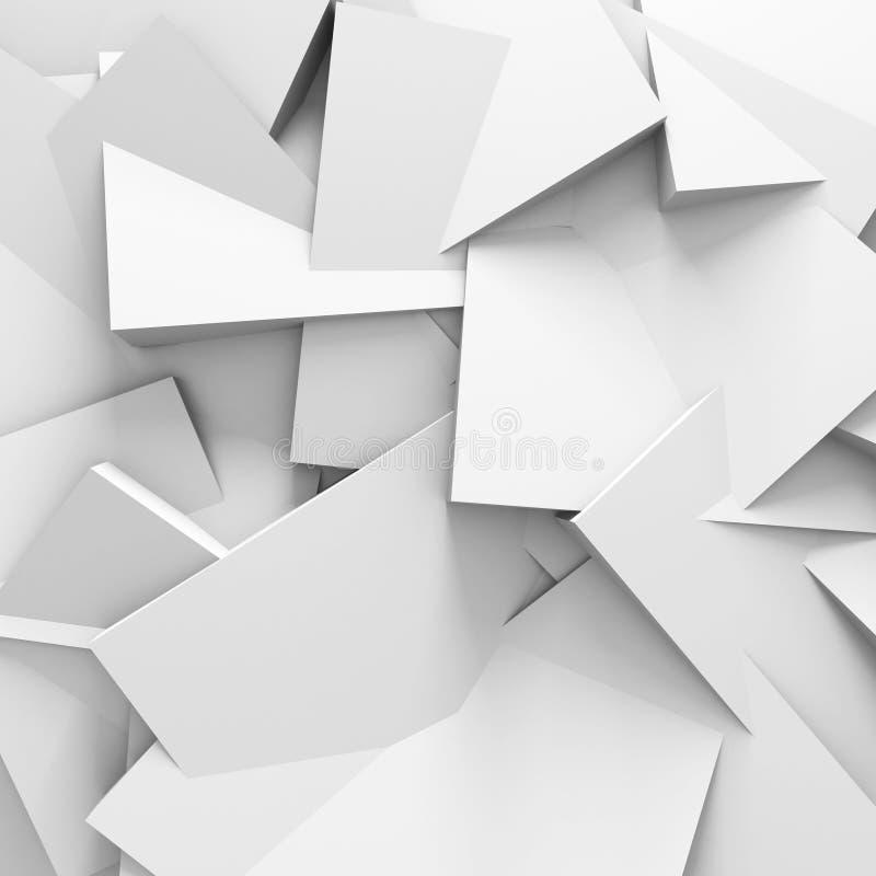 Fondo bianco astratto della parete della struttura a blocchi illustrazione di stock