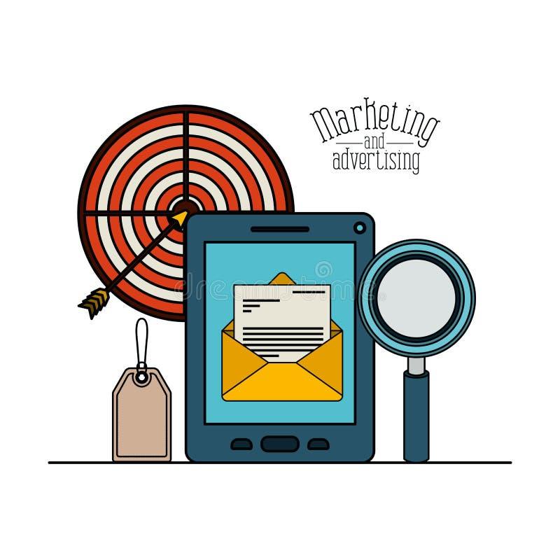 Fondo bianco con il email variopinto del messaggio di simbolo dello smartphone dell'insieme con la lente di ingrandimento ed obie illustrazione vettoriale