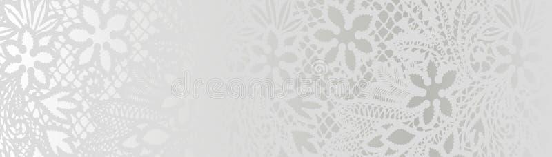 Fondo bianco con il modello del pizzo illustrazione vettoriale