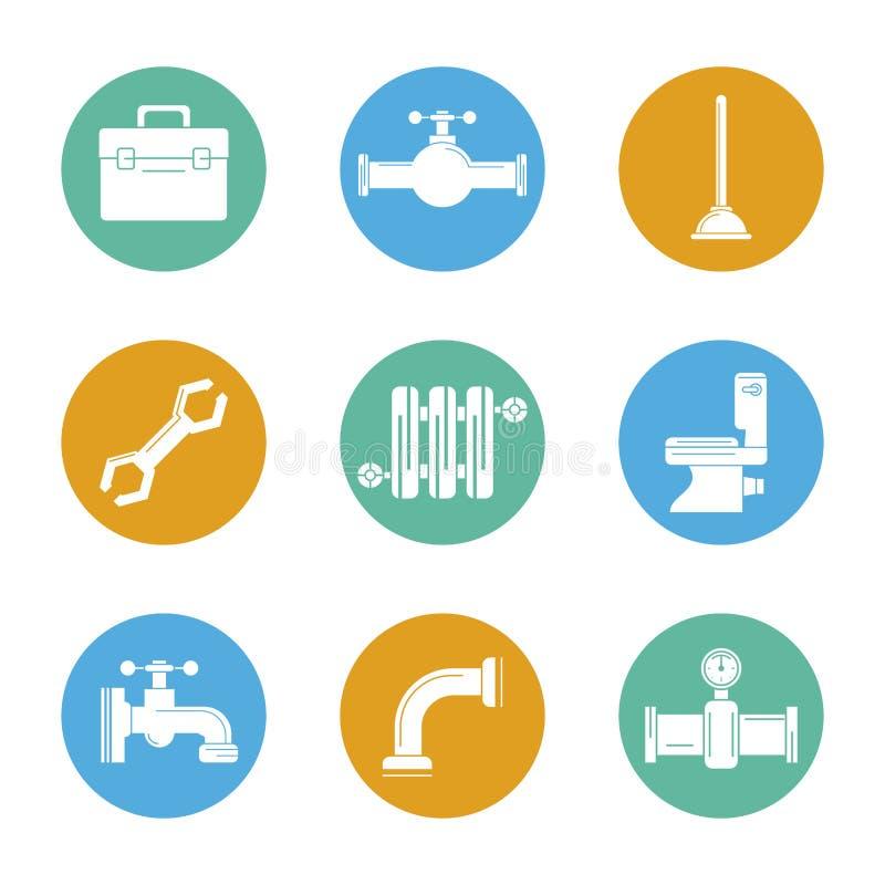 Fondo bianco con l'insieme di colore delle icone dell'impianto idraulico nei cerchi royalty illustrazione gratis