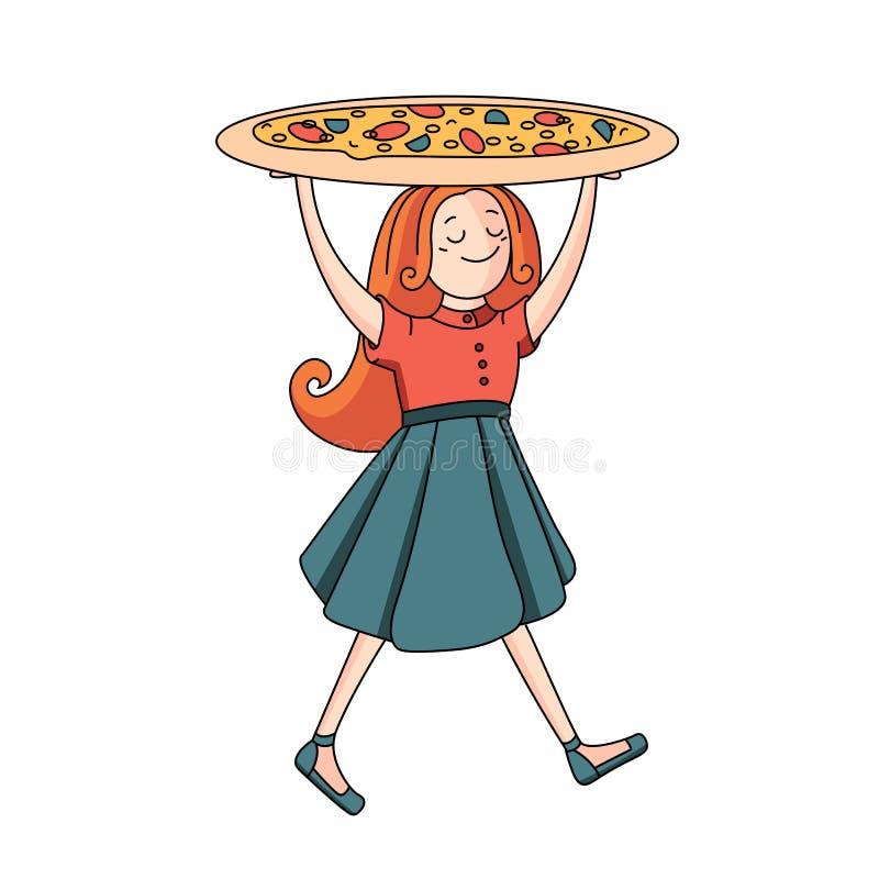 Fondo bianco con la ragazza con pizza fotografie stock