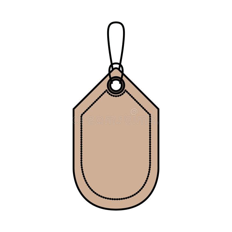 Fondo bianco con la siluetta variopinta dello sconto dell'etichetta con il contorno spesso illustrazione vettoriale