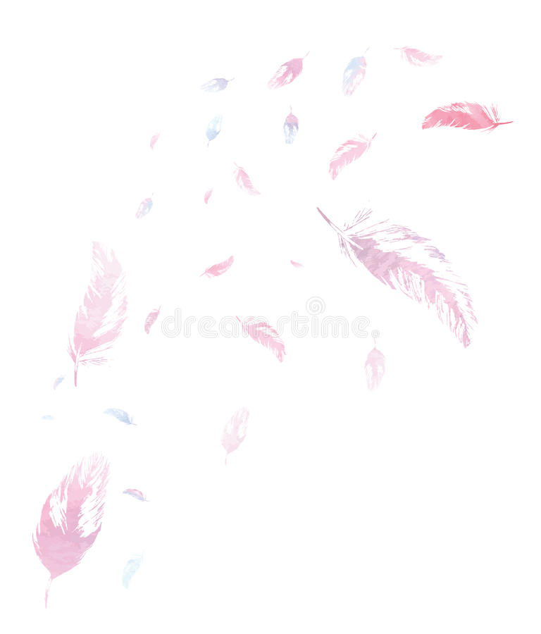 Fondo bianco con le piume dell'acquerello fotografie stock libere da diritti
