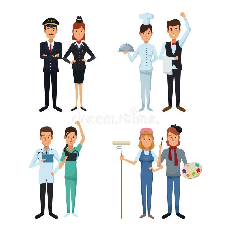 Fondo bianco con le professioni differenti del corpo del maschio pieno delle coppie e della gente stabilita della femmina royalty illustrazione gratis
