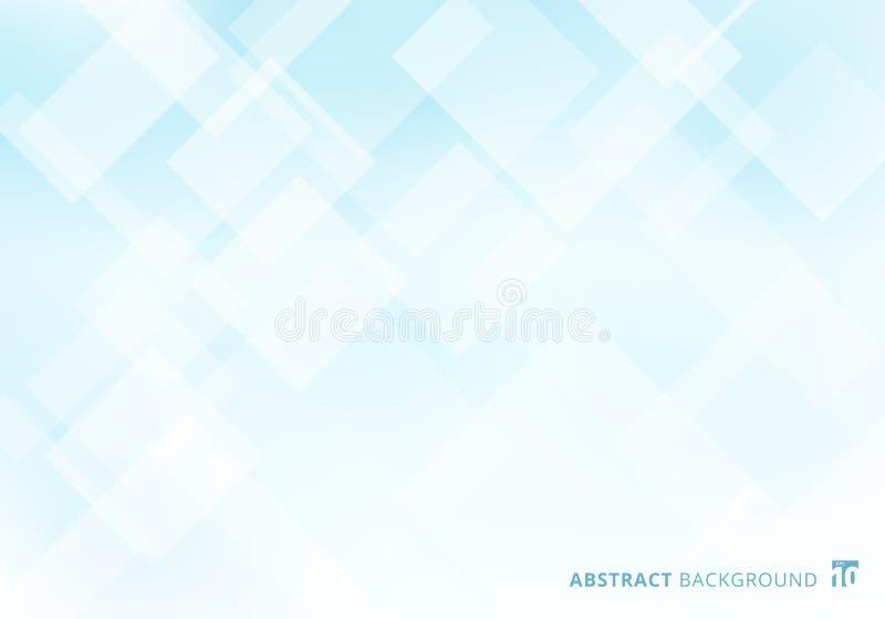Fondo bianco dei quadrati di forme del modello di strato elegante astratto della sovrapposizione e blu geometrico di colore di pe royalty illustrazione gratis