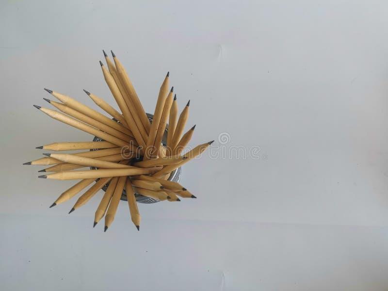 fondo bianco del ‹del on†del ‹del wood†del ‹del pencil†fotografia stock