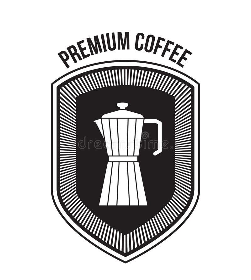 Fondo bianco del caffè super del testo e della progettazione di logo dello schermo decorativo con il barattolo metallico della si royalty illustrazione gratis