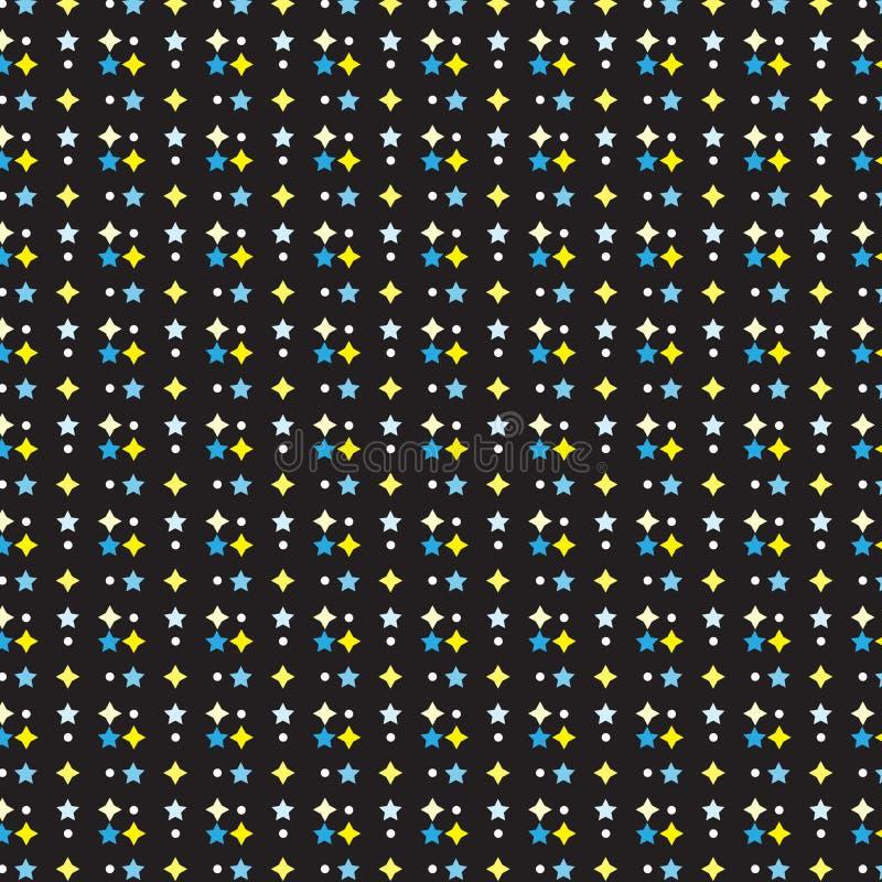 Fondo bianco del nero del modello di punto della stella gialla blu royalty illustrazione gratis