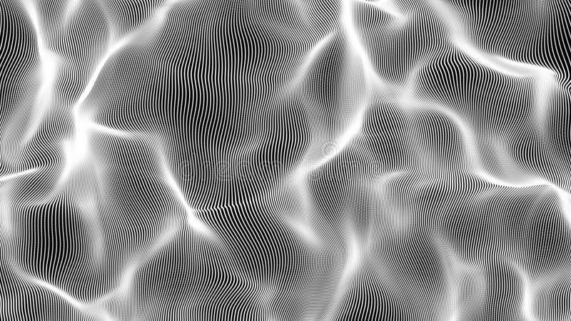 Fondo bianco dell'illustrazione dell'onda della particella illustrazione di stock
