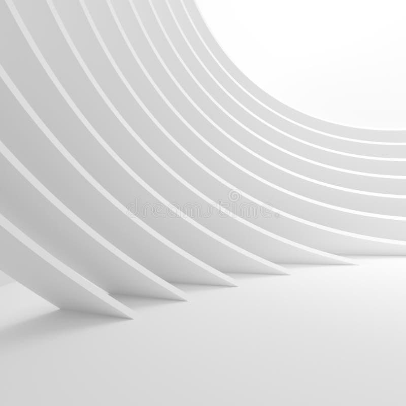 Fondo bianco della circolare di architettura Progettazione astratta del tunnel illustrazione di stock