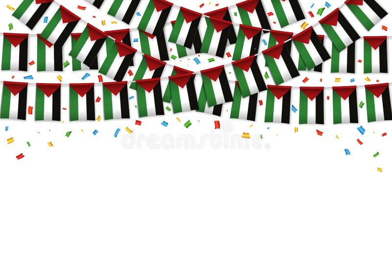 Fondo bianco della ghirlanda delle bandiere della Palestina con i coriandoli royalty illustrazione gratis