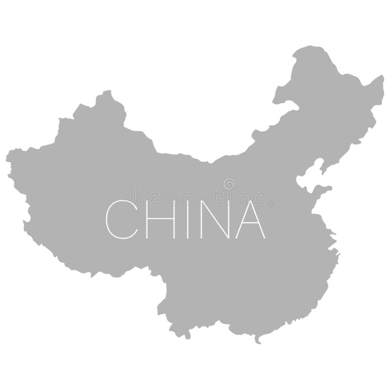 Fondo bianco della mappa della Repubblica popolare cinese illustrazione di stock