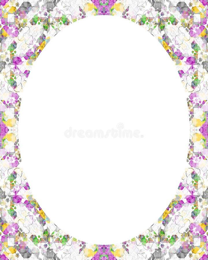 Fondo bianco della struttura del cerchio con i confini decorati illustrazione vettoriale