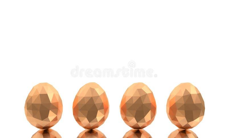 Fondo bianco delle uova quattro dorati poligonali bassi del poligono di Pasqua poli fotografia stock