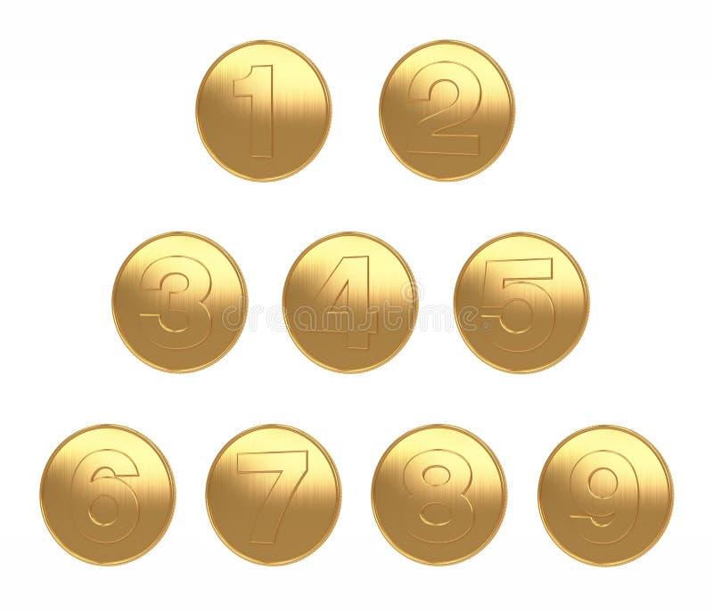 1-9 fondo bianco di grande immagine dell'oro di monete per il taglio 3d dei Di rendere illustrazione di stock