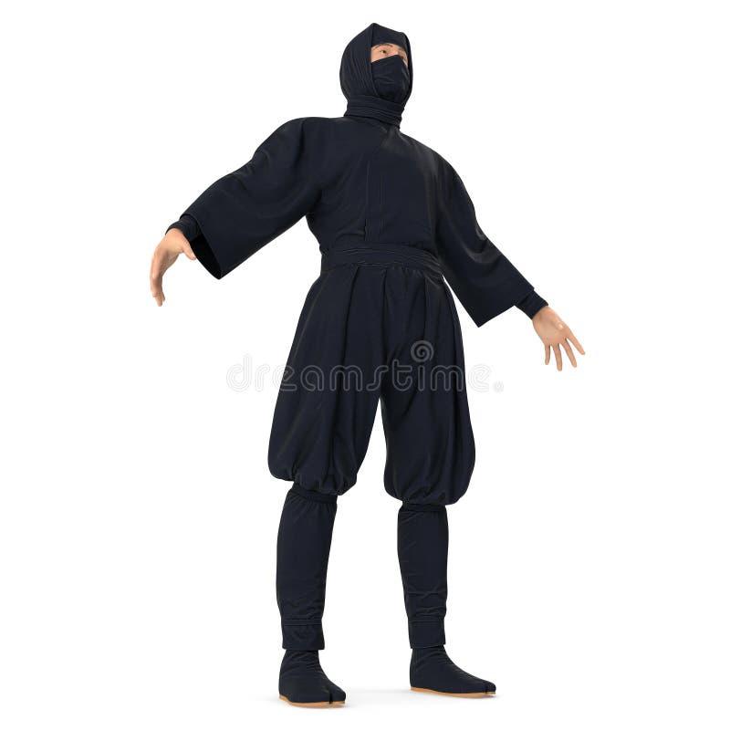 Fondo bianco di Ninja Standing Pose On illustrazione 3d, isolata illustrazione di stock