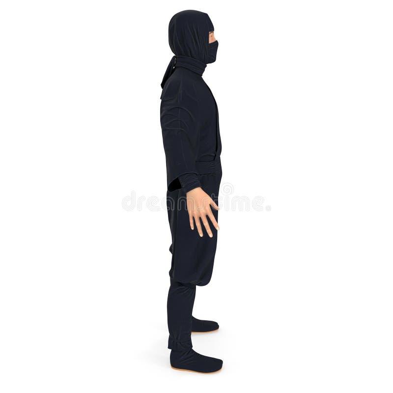 Fondo bianco di Ninja Standing Pose On illustrazione 3d, isolata royalty illustrazione gratis