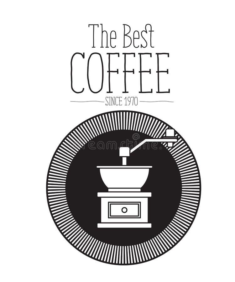 Fondo bianco di testo il migliore caffè dal 1970 e progettazione di logo del telaio decorativo di forma circolare con la siluetta illustrazione vettoriale