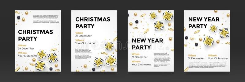 Fondo bianco dorato di progettazione di vettore dei manifesti del partito di vacanza invernale del nuovo anno di Natale royalty illustrazione gratis