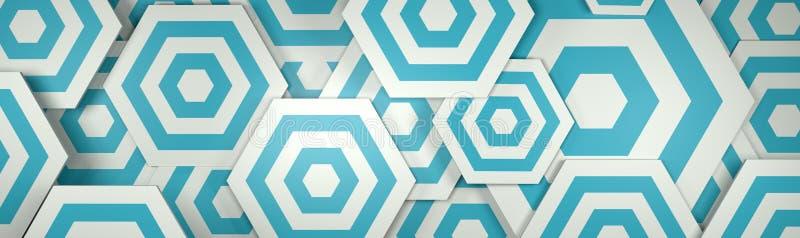fondo bianco e blu di 3D di Hexangon (testa del sito Web) illustrazione vettoriale