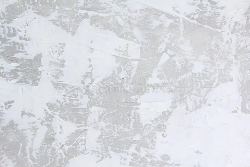 Fondo bianco e grigio di struttura dello stucco della parete Pittura murale decorativa fotografie stock libere da diritti