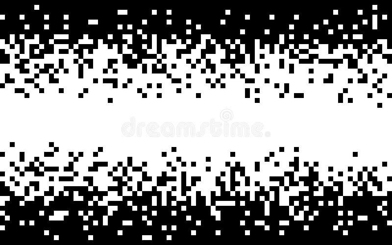 Fondo bianco e nero del pixel Progettazione minima con i quadrati monocromatici Pendenza di semitono astratta Struttura casuale illustrazione di stock