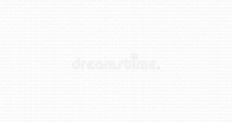 Fondo in bianco e nero di codice binario con le cifre una e zero sullo schermo illustrazione di stock