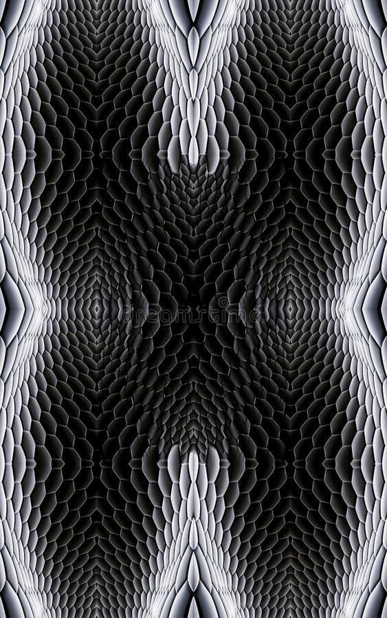 Fondo in bianco e nero regolare unico generato da computer artistico dei modelli di frattali 3d illustrazione vettoriale