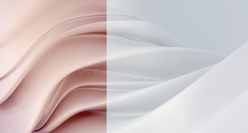 Fondo bianco elegante e di lusso con il segmento di rosa della perla Fondo costoso per il biglietto da visita Fondo per i cosmeti fotografia stock