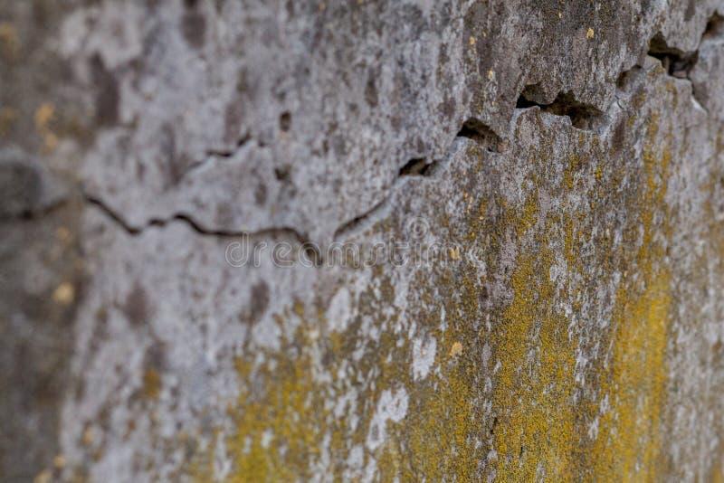 Fondo bianco incrinato di struttura della parete, parete molto vecchia con una crepa su  fotografie stock